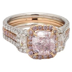 1.79 Carat Fancy Purple Pink, Cushion Cut Diamond Ring, GIA Certified