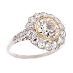 1.79 Carat Old European Cut Diamond Platinum Engagement Ring