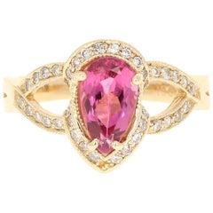 1.79 Carat Pink Tourmaline Diamond 14 Karat Yellow Gold Cocktail Ring
