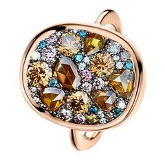 1.79 Carat Rose-Cut and Briljant-Cut Brown, Pink and Blue Diamond Pave Ring
