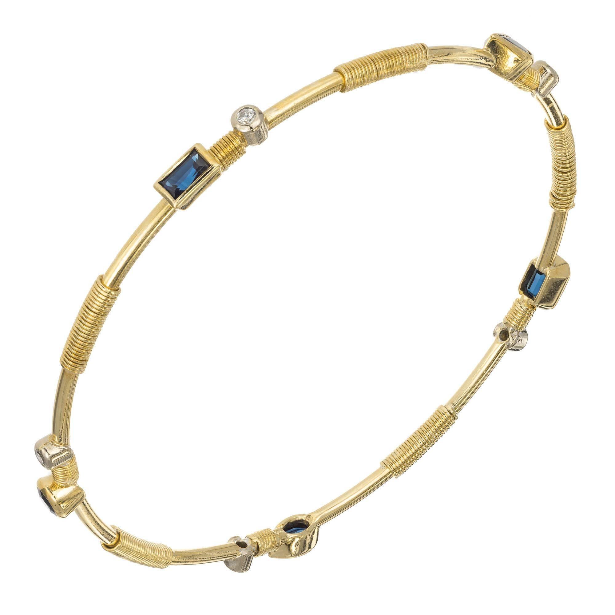 1.79 Carat Sapphire Diamond Yellow Gold Bangle Bracelet