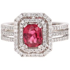 1.79 Carat Spinel Diamond White Gold Engagement Ring