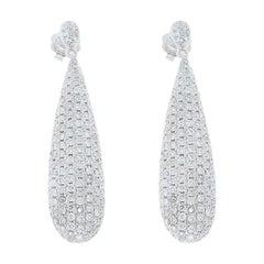 1.79 Carat Total Pave Drop White Diamond Earrings