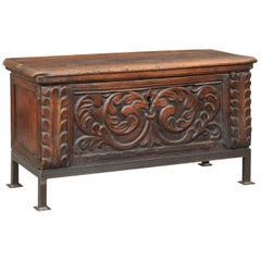 1790s English George III Period Hand Carved Walnut Coffer on New Custom Stand