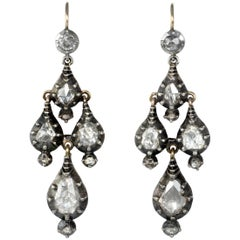 1790s Georgian Diamond Gold and Silver Girandole Earrings
