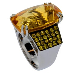 Chatila 17.93 Carat Citrine and Yellow Sapphire Cocktail Ring