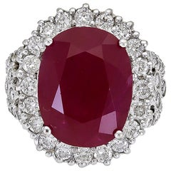 17.94 Carat Cushion Cut Ruby and Diamond Halo Engagement Ring