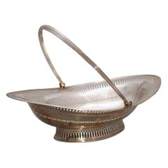 1796 Georgian Sterling Silver Pierced Oval Basket Centerpiece Bowl