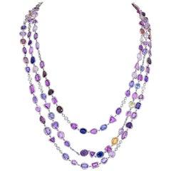179.66 Carat Rose Cut Sapphire and Diamond Long Necklace