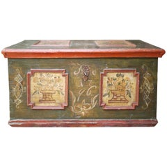 1797 Italian Blanket Chest Green Floral Painted