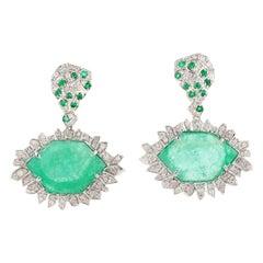17.98 Carat Emerald 18 Karat White Gold Diamond Earrings