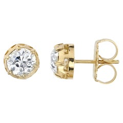 1.79 Carat JK/SI1-2 GIA Certified Old Euro Cut Diamonds in 18 Karat Gold Studs