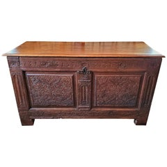 17th Century English Carved Oak Dowry Chest