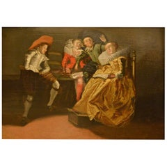 17th Century Ancient Painting oil on wood Flemish Genre Scenes, 1600s