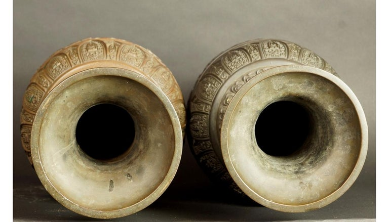 17th-18th Century China Pair of Bronze Vases Qing Dynasty For Sale 9