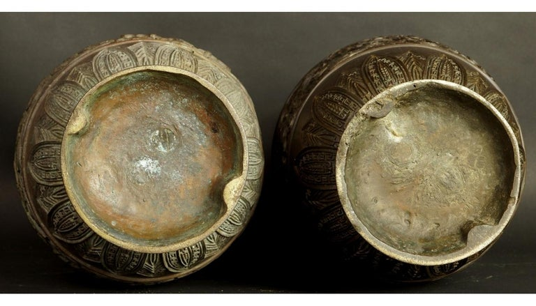 17th-18th Century China Pair of Bronze Vases Qing Dynasty For Sale 10