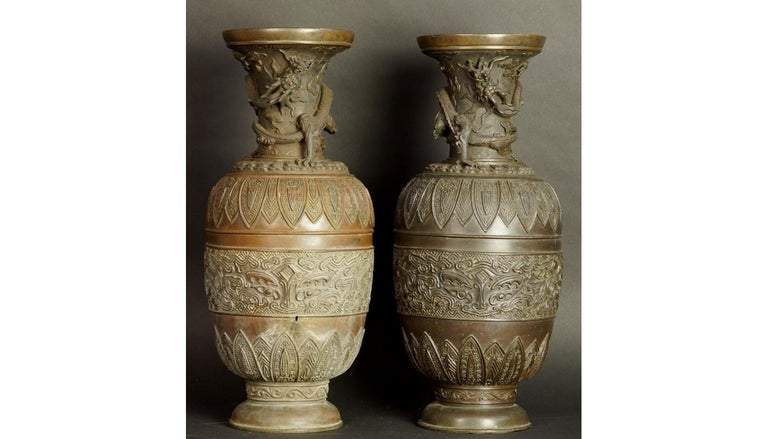 17th-18th Century China Pair of Bronze Vases Qing Dynasty For Sale 12