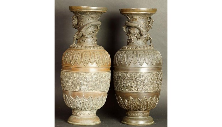Chinese 17th-18th Century China Pair of Bronze Vases Qing Dynasty For Sale