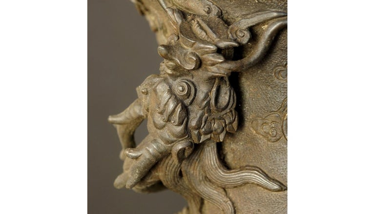 17th-18th Century China Pair of Bronze Vases Qing Dynasty For Sale 4