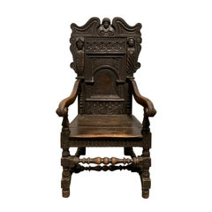 17th/18th Century English Carved Oak Wainscot Armchair