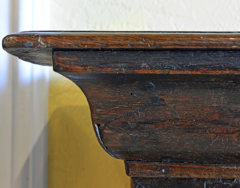 17th-18th Century English Jacobean Style Three-Drawer Oak Wood Dresser or Buffet For Sale 9