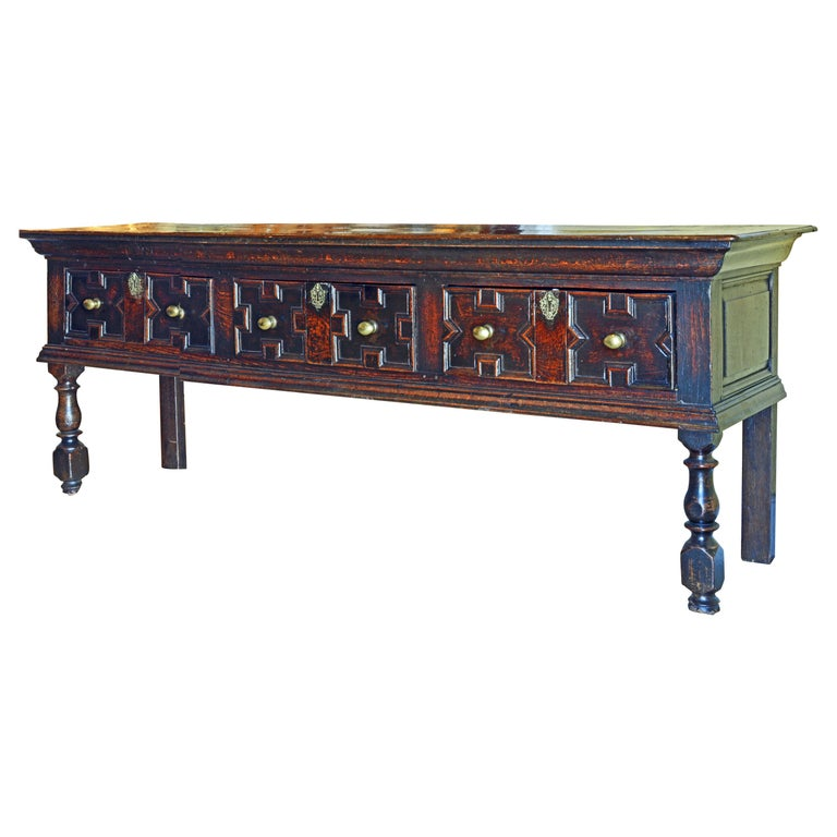 17th-18th Century English Jacobean Style Three-Drawer Oak Wood Dresser or Buffet For Sale