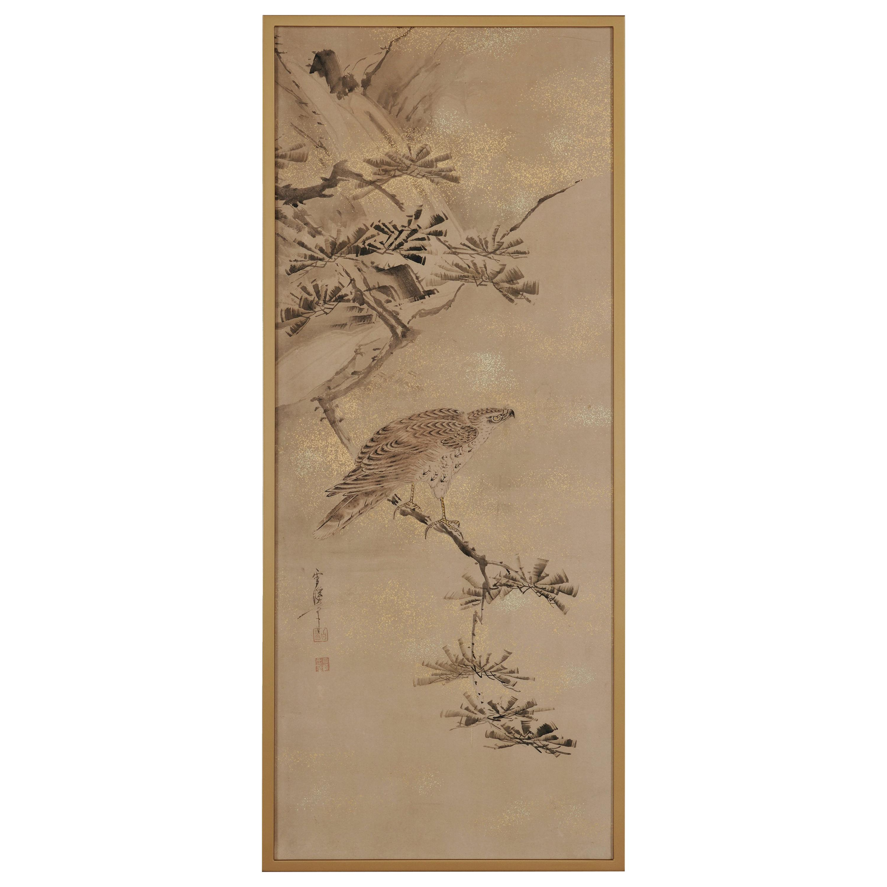 Japanese Painting, Framed, 17th-18th Century, Falcon by Yamaguchi Sekkei