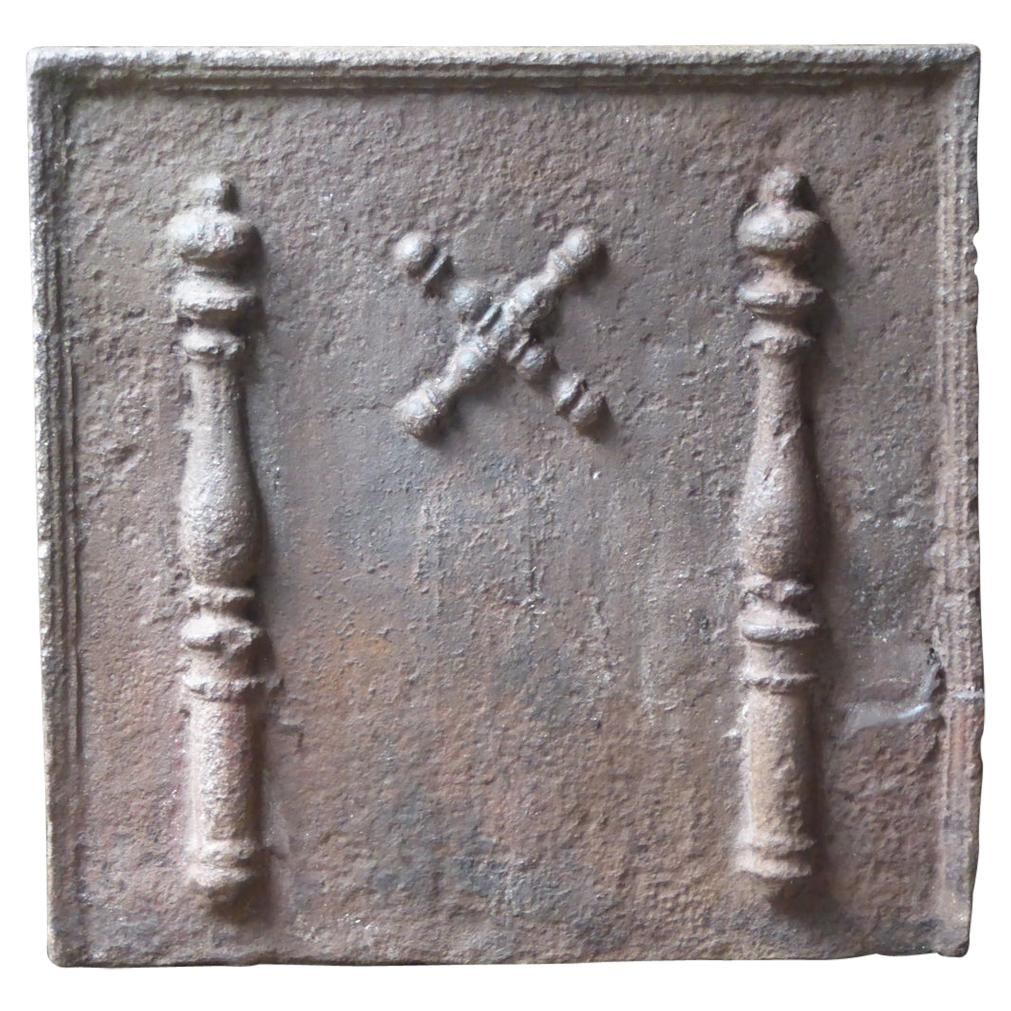 17th-18th Century French Louis XIV 'Saint Andrew's Cross' Fireback