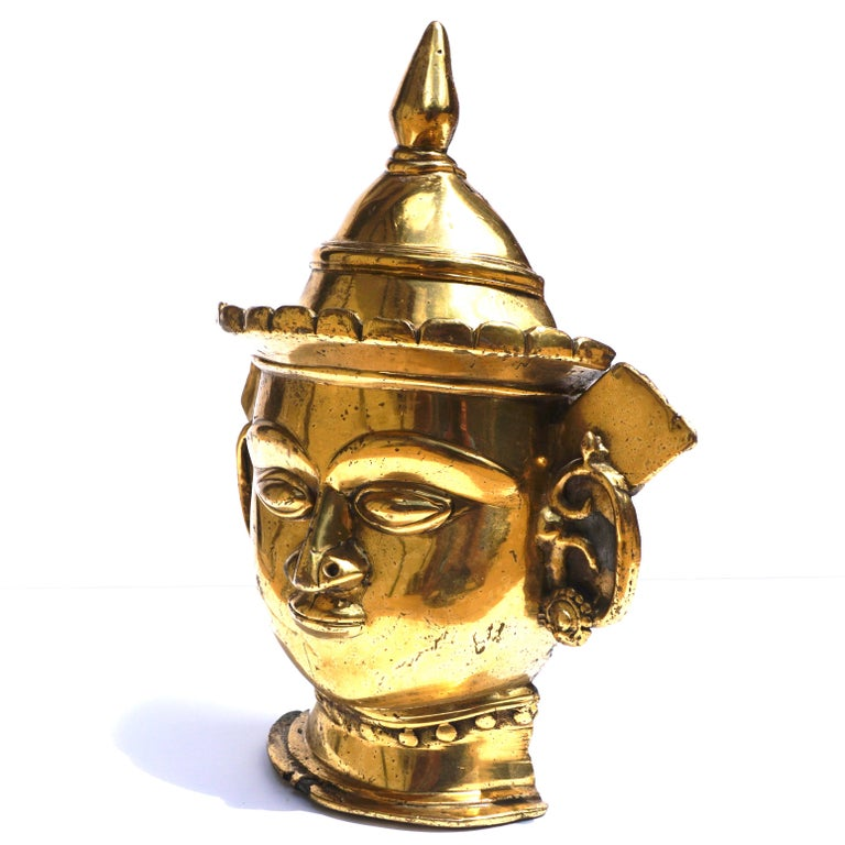 18th Century and Earlier 17th-18th Century Indian Mukhalingam Gilt Bronze Mask For Sale