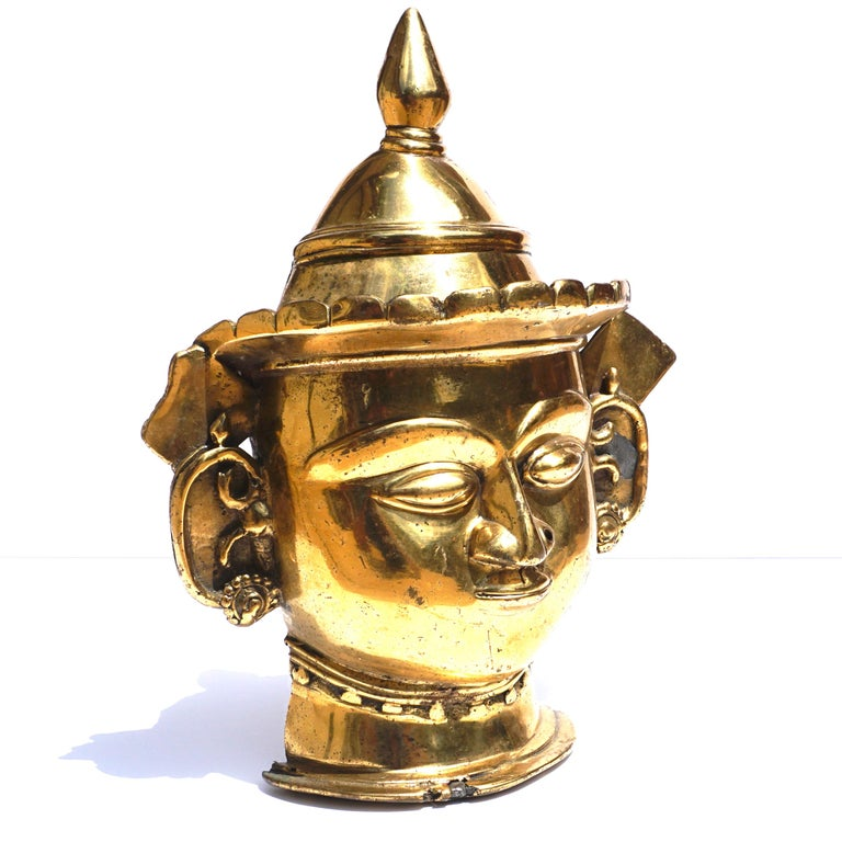 17th-18th Century Indian Mukhalingam Gilt Bronze Mask For Sale 1