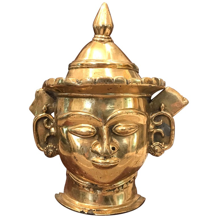 17th-18th Century Indian Mukhalingam Gilt Bronze Mask For Sale