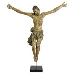 17th-18th Century Italian Baroque Carved Wooden Christ Figure