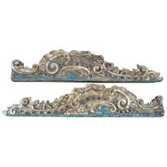 17th-18th Century Italian Baroque Painted and Gilt Architectural Elements, Pair