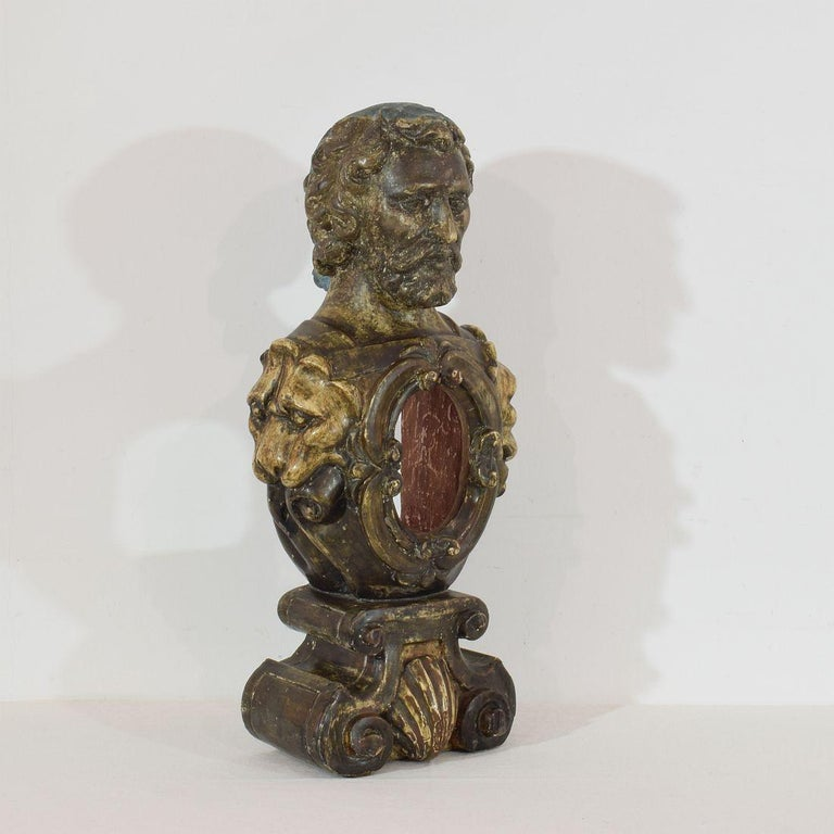 17th-18th Century Italian Wooden Reliquary Bust In Good Condition For Sale In Amsterdam, NL