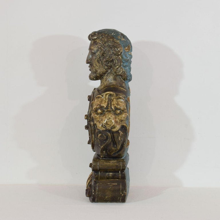 17th-18th Century Italian Wooden Reliquary Bust For Sale 2