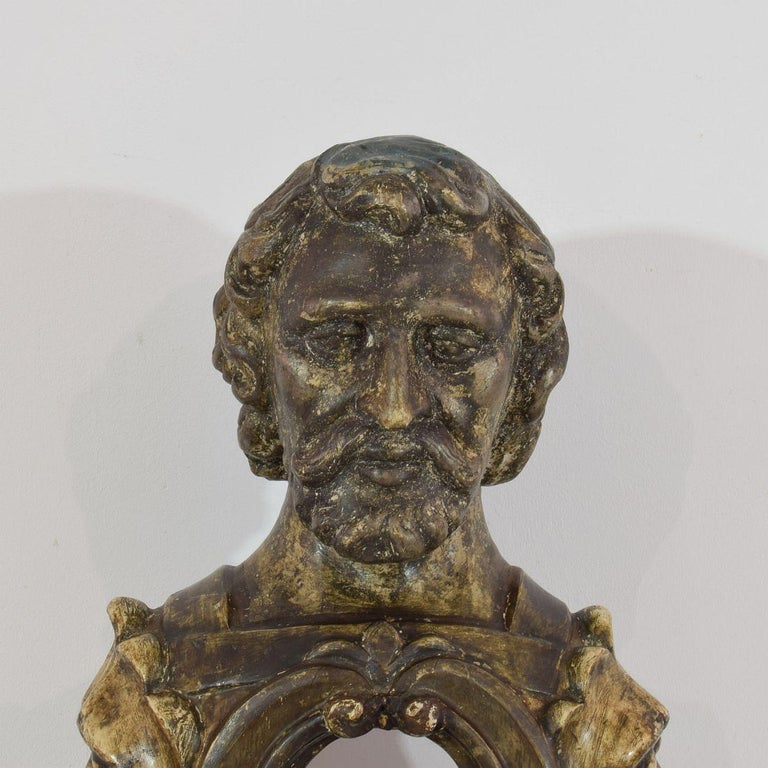 17th-18th Century Italian Wooden Reliquary Bust For Sale 1