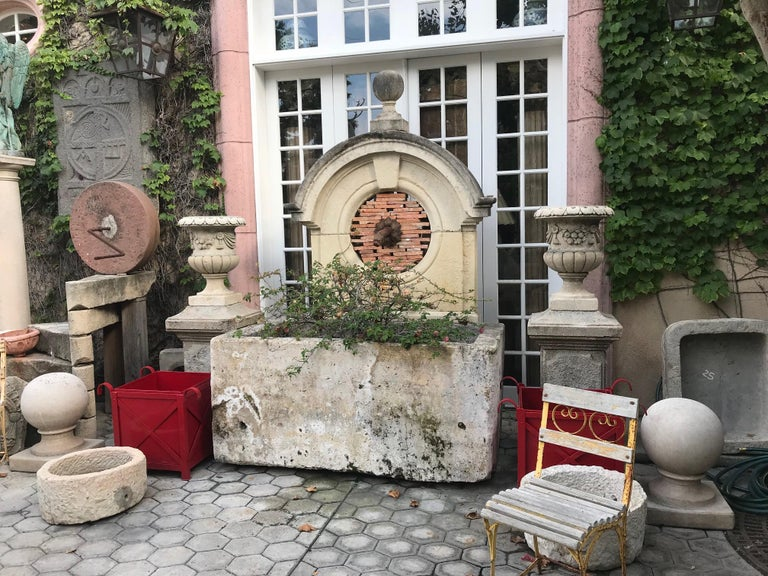 French 17th-18th Century Large Antique Carved Stone Wall Mount Water Fountain Feature For Sale