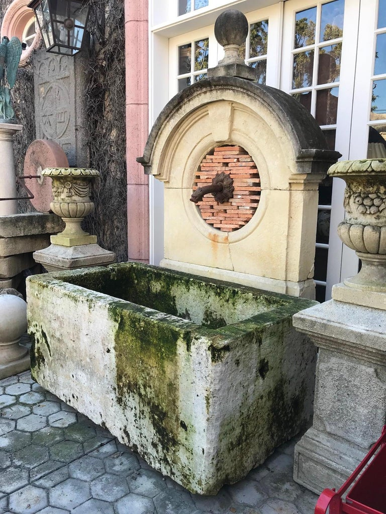 17th Century 17th-18th Century Large Antique Carved Stone Wall Mount Water Fountain Feature For Sale
