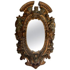 17th-18th Century Mixed Metal Italian Renaissance Mirror, Made in Tuscan Italy