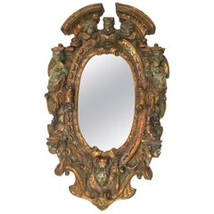 17th-18th Century Mixed Metal Italian Renaissance Mirror, Made in Tuscan Italy