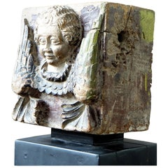 17th-18th Century Philippines, Carved Wooden Pilaster Ridge, Angel's Head