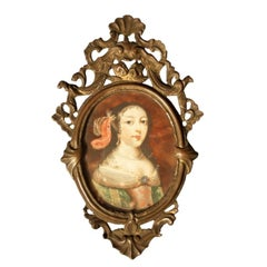 17th-18th Century Spanish Portrait Miniature, Noblewoman on Tortoiseshell