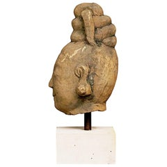17th-18th Century Woman's Head, Carved in Sandstone