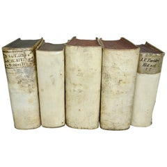 17th and 18th Century Five Book Collection of Vellum Books