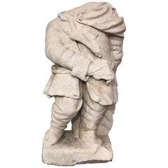 17th Antique Small Sculpture Representing a Dwarf Flag