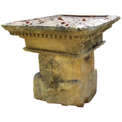 Carved Stone Antique Garden Outdoor Indoor Side Center Coffee Table Farm rustic