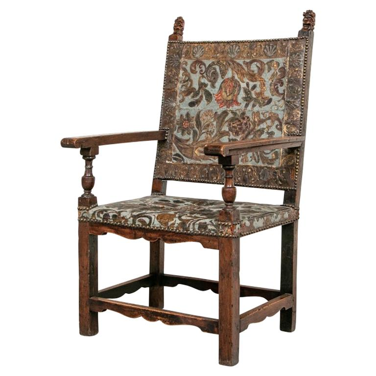 Late 17th Century Carved Walnut and Embossed Leather Armchair