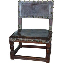 17th Century English Child's Chair in Leather with Brass Studwork