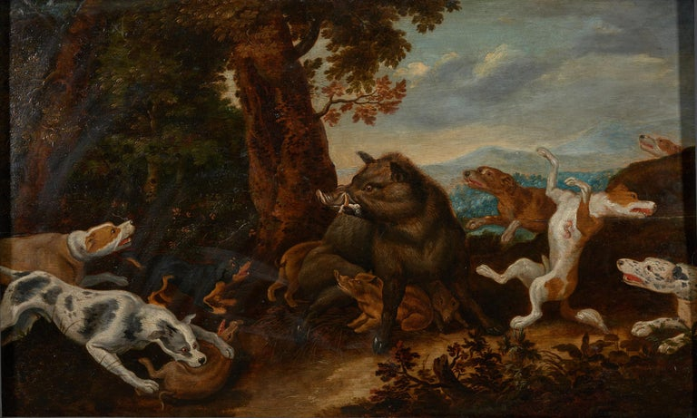 17th century Flemish Shool Antwerp, wild boar hunt in the style of Frans Snijders, oil on oak panel marked by Guilliam Gabron 1609-1662, Antwerp. The style of this painting is very close to the Antwerp born painters Frans Snijders (1579-1657) and