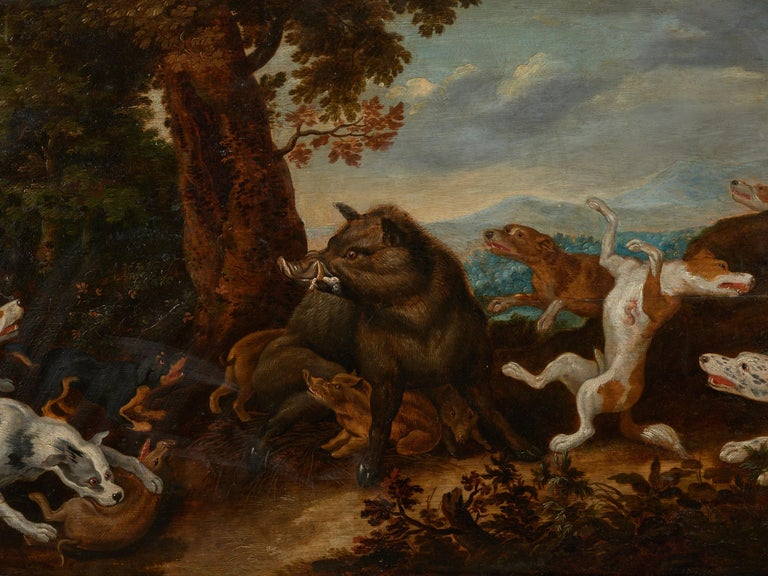Belgian 17th Century Flemish Shool Antwerp Wild Boar Hunt in the Style of Frans Snijders For Sale